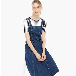 Belted stretch-denim midi dress